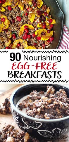 Allergic or sensitive to eggs? Tired of eggs for breakfast? Boy, are you in luck! Here are 90 nourishing, healthy and easy egg-free breakfast ideas for quick, on the go, make ahead or meal prep ideas. We're talking casserole, muffins, potatoes, smoothie and more! #breakfast #healthy #casserole #ideas #easy #eggfree #recipes Make Ahead Breakfast, Breakfast Recipes, Breakfast Ideas, Breakfast Healthy, Breakfast Toast, Morning Breakfast, Egg Free Recipes, Real Food Recipes, Diet Recipes