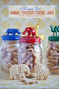 Mason jar-inspired, animal cracker cookie jars.