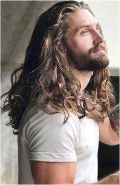 Long Curly Hair Men, Long Hair Beard, Long Hair Cuts, Man With Long Hair, Popular Haircuts, Haircuts For Men, Hair And Beard Styles, Curly Hair Styles, Mens Long Hair Styles