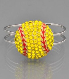 Softball Bracelet Very Cute not heavy and brings all the bling. Softball Bracelet, Softball Jewelry, Softball Crafts, Softball Quotes, Softball Players, Girls Softball, Fastpitch Softball, Softball Stuff, Softball