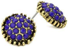 Yochi Navy Stone Burst Brim Earrings Yochi. $38.00. Post earring. Made in USA
