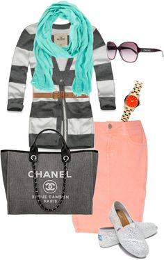 """Coral & Mint"" by shortemmi on Polyvore"