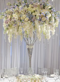 Color Inspiration: Shining Silver Wedding Ideas - wedding centerpiece idea via Preston Bailey Floral Centerpieces, Table Centerpieces, Wedding Centerpieces, Wedding Table, Floral Arrangements, Wedding Reception, Wedding Decorations, Centrepieces, Centerpiece Ideas