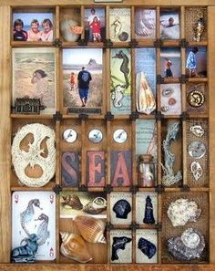 Re-using printers type trays as a place for visitors to sort through and organize objects into mini-displays