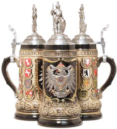 German State Crest Beer Stein .5L with Pewter Eagle Lid