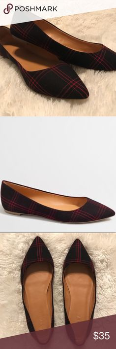 J. Crew Amelia Flats Only worn a few times!  In excellent condition!  Black and red plaid. No stains or rips. J. Crew Shoes Flats & Loafers