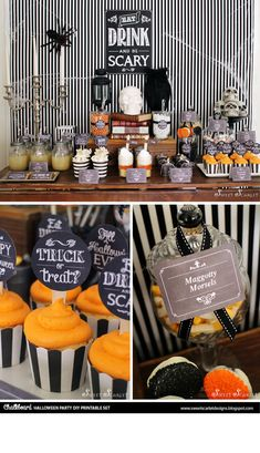 Eat, drink and be scary chalkboard halloween party printables with food signs, cupcake toppers, candy labels and chocolate bar wrappers