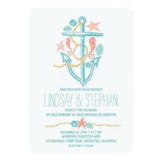 Invitaciones náuticas del boda de playa