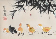 """""""A Bit Peckish"""" limited edition print shows chicks a chasing lucky red ladybugs beneath bamboo by Tracie Griffith Tso."""