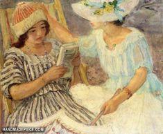 """Marthe et Nono"", tableau du Peintre français Henri Lebasque, Reading Art, Girl Reading, Children Reading, Reading Books, Oil Painting Reproductions, Henri Matisse, French Artists, Art Day, Oeuvre D'art"