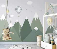 Snowy Green Mountains Hot Air Balloons Clouds Birds Wallpaper Animal Animals Bedroom Children Kids Room Mural Home Decor Wall Art Removable - Peel & Stick / 146\W x 95\H