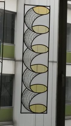 stained glass with annual rings of a tree