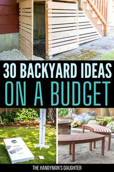 30 Backyard Ideas on a Budget - Turn your backyard into an outdoor oasis! These easy DIY backyard ideas will keep you busy and transform your outdoor space on a budget! Source by handymansdaught - Backyard Bar, Backyard Patio Designs, Backyard For Kids, Backyard Landscaping, Backyard Fences, Landscaping Ideas, Diy Yard Decor, Planer Layout, Budget Patio