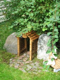 Miniature Gnome, Fairy, Faerie, Elf, Hobbit Rustic Garden Arbor Archway. ~ It looks like an entry way into a hidden cave behind the rocks.