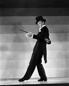 Fred Astaire Dancing in Top Hat Black and White High Quality Photo