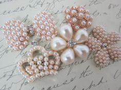 5pcs Royal Embellishment Kit - White/Gold by NatashaScrapbooKorner, $6.53 USD