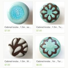 Kandace Lockwood (@lockwoodceramics) • cool handmade cabinet knobs. White, Turquoise, Aqua glass: Ceramic knobs; Geometrics Star Design