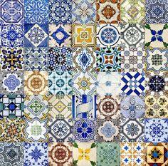 Azulejos de Portugal - Handmade tiles can be colour coordinated and customized re. shape, texture, pattern, etc. by ceramic design studios Tile Art, Mosaic Tiles, Tiling, Wall Tiles, Cement Tiles, Tile Patterns, Textures Patterns, Tile Design, Pattern Design