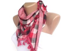 plaid fashion accessories, pink gray women scarf , spring summer scarves, headband ,headwrap , cowl scarf. $24.50, via Etsy.