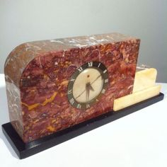 1920-039-s-French-ART-DECO-Clock-Case-w-Garnishes-in-Marble-Telechron-Clock-Works