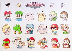 Super Smash Babies ⊟ Obviously this doesn't reflect the currently announced roster for the new Smash Bros. (what with the inclusion of Ice Climbers, Jigglypuff, and Ness), but it somehow made Kirby even cuter than he already is, so there's that. Ann Chang created these cuties, and she's selling them both as stickers ($15 sheet) and individual charms ($7 each). Head over to her Tumblr for more adorable stuff, like the Animal Crossing and Pokémon charms! PREORDER Super Smash ...