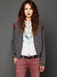 Free People FP New Romantics Quilted Baseball Jacket, $198.00 I would pay all my monies for this right here