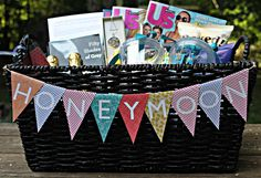 Would be a cute idea for the wedding party to have the day of! Honeymoon Gift Basket from the B-Maids