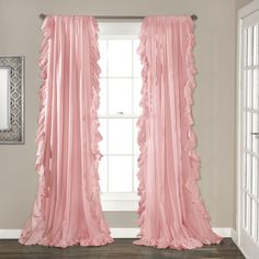 Lush Decor Reyna Window Curtain Panel Pair, x Pink: Cascading ruffle boarder adds to the elegance and simplicity of this solid window panel. Sold in pairs, pocket slides onto curtain rod for quick and easy installation. Part of Reyna collection. Pink Curtains, Drop Cloth Curtains, Rod Pocket Curtains, Grommet Curtains, Hanging Curtains, Blackout Curtains, Window Curtains, Bedroom Curtains, Cozy Bedroom