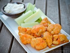 "Vegan Buffalo Cauliflower ""Wings"". Oh my gosh... this stuff is so good. You must try it!"