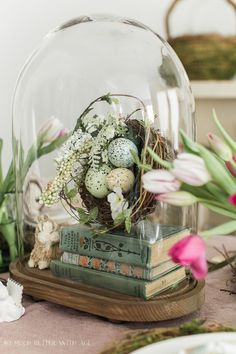 Books, Bunnies and Tulips Easter Table/nest, books under glass cloche - So Much Better With Age (easter centerpiece tulips) Spring Home Decor, Spring Crafts, Cloche Decor, Easter Table Settings, Easter Crafts, Easter Decor, Easter Ideas, Bunny Crafts, Xmas Crafts