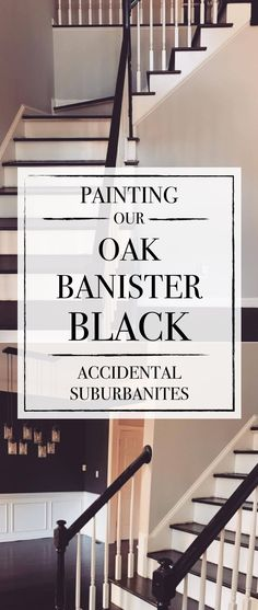 Painting our Oak Banister Hand Railing Black Painting our Oak . Painting our Oak Banister Hand Railing Black Painting our Oak Banister Hand Raili Black Painted Stairs, Painted Stair Railings, Black Stair Railing, Black Staircase, Painted Staircases, Staircase Railings, Banisters, Staircase Design, Hand Railing