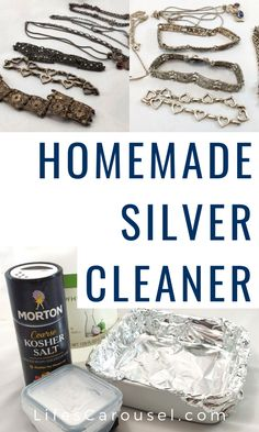 Make your own homemade silver jewelry cleaner. This simple DIY jewelry cleaner u. - Make your own homemade silver jewelry cleaner. This simple DIY jewelry cleaner uses just 4 ingredie - Household Cleaning Tips, Cleaning Recipes, Diy Cleaning Products, Cleaning Hacks, Cleaning Schedules, Speed Cleaning, Homemade Products, Homemade Silver Cleaner, Homemade Jewelry Cleaner