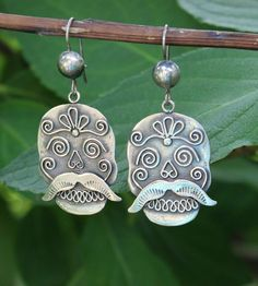 58c0f443404e Sterling Earrings Sugar Skull   Mustache Day of the Dead Oaxaca Mexico Folk  Art Calaveritas Mexicanas