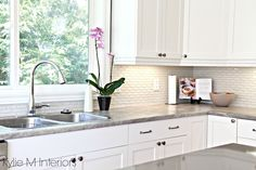 Awesome Hexagon Kitchen Backsplash Interior Design Hexagon Subway Tile Backsplash Maple Cabinets Painted Cloud White Soapstone Formica Countertops And Gray Quartz With Kitchen Decor Maple Kitchen Cabinets, Outdoor Kitchen Countertops, Formica Countertops, Kitchen Countertop Materials, Kitchen Backsplash, White Cabinets, Wood Cabinets, Black Backsplash, Granite Backsplash