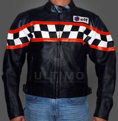 ELF TRIUMPH MOTORCYCLE LEATHER JACKET  You may be interested in this Product: Harley davidson and the Marlboro Man Jacket  Jacket Features:  Outfit type: Leather Jacket  Gender: Male  Color: Black  Front: Front Zip Closure & two red stripes on front  Collar:Snap button collar