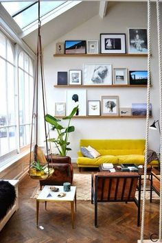 If you are living in your own house or a rental place, you can vary your interior design choice to transform your living quarters into a home. Those with a budget can use affordable interior design products in order to spruce up one room or revamp an. Interior Design Inspiration, Room Inspiration, Inspiration Boards, Tall Wall Decor, Tall Ceiling Decor, Sloped Ceiling, Living Room Decor, Living Spaces, Living Rooms
