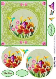 green floral all occasion card on Craftsuprint designed by Donna Kelly - Approx. 6x6 green tone floral card front, multi use card, birthday, mothers day,get well, thinking of you and sympathy. Includes decoupage and three labels, one blank. - Now available for download!