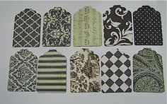 20 Black Tan and White Gift Tags by NanaLetha on Etsy