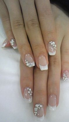8 Exotic Nail Art Design with Glitter Rhinestones In 2019 Are you looking for a great Nail Art Glitter Rhinestones design with tutorials? You should give an eye to the collection where we have got some amazing and lovely designs. Ongles Gel French, French Manicure Nails, French Nails, Wedding Day Nails, Wedding Nails Design, Wedding Manicure, Wedding Makeup, Cute Nails, Pretty Nails
