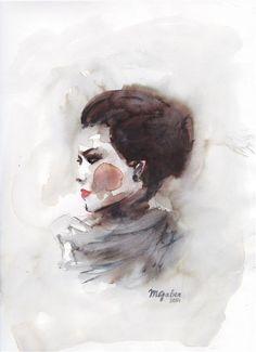 Buy Original Art by Maryam Gaber | watercolor painting | Peach Cheeks at UGallery