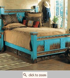 I would LOVE this in my bedroom!!  Turquoise bed frame.