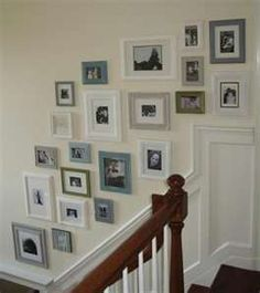 DIY Home : DIY Picture Frame Gallery Wall (diy wall decor) Love the Greys, blues and white color scheme! Frame Wall Collage, Gallery Wall Frames, Collage Picture Frames, Frames On Wall, Collage Ideas, White Frames, Painted Frames, Gallery Walls, Art Frames