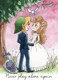 Zelda & Link wedding  aquarel comission / by Libou