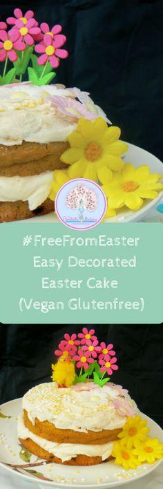 Einfach dekorierter Osterkuchen (Df Ef Syf Gf Ve) Easter Cake Vegan, Easter Cake Easy, Easter Treats, Sans Gluten, Gluten Free, Dairy Free, Cake Designs For Girl, Homemade Cherry Pies, Vegan Cream Cheese Frosting