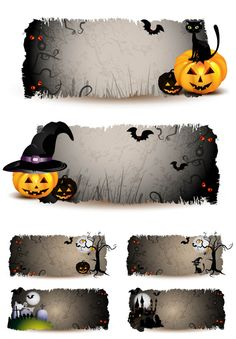halloween templates | sets of 6 vector scary halloween banners templates with jack o ...