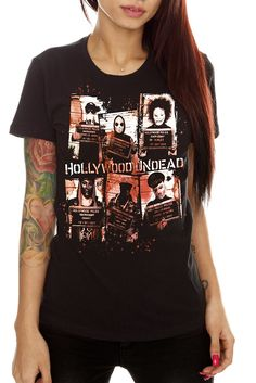 Click Image Above To Buy: Hollywood Undead Mugshots Girls T-shirt Plus Size Hollywood Undead Merch, Band Outfits, Cute Outfits, Hot Topic Clothes, Clothes For Women, Grunge Look, Mug Shots, My Style, How To Wear