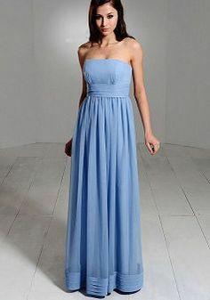 Sheath/ Column Chiffon Strapless Empire Floor Length Sleeveless Bridesmaid Dress - Angeldress.co.uk