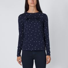 Huffer Frill Front Tee - Navy Square No Frills, Polka Dot Top, Girly, Navy, Blouse, Tees, Long Sleeve, Sleeves, Clothing