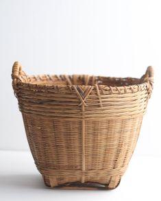$49 for sale 2020 Vintage Wicker Basket/ Asian Bamboo Basket / Rattan Basket/   Etsy