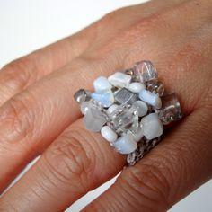 Winter White Beaded Cluster Ring Fiber Knit Cocktail Ring Silver Moonstone Howlite Stone Big Funky Ring. $42.00, via Etsy.